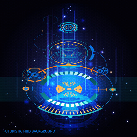 futuristic: Futuristic HUD background with holographic circles and blue light flat isolated vector illustration Illustration
