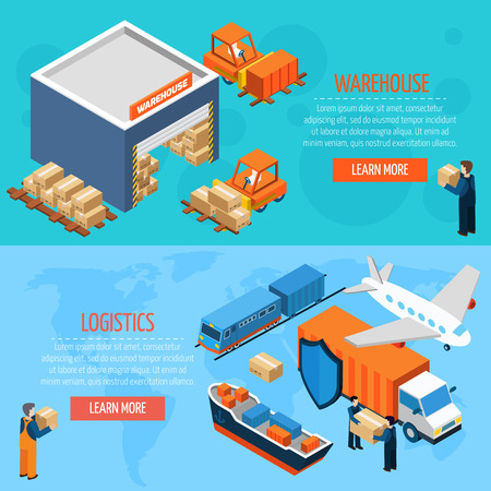 Isometric warehouse logistics  horizontal  banners with workers boxes  forklifts and cargo transport  vector illustration