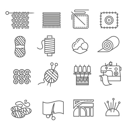 Textile industry outline icons set with cloth and fabtic samples isolated vector illustration Illustration
