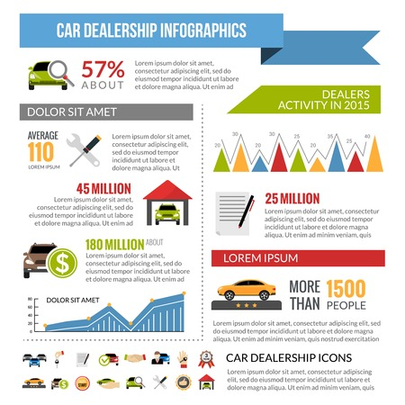 dealership: Car dealership infographics layout with statistics number of buyers and automotive sales flat vector illustration