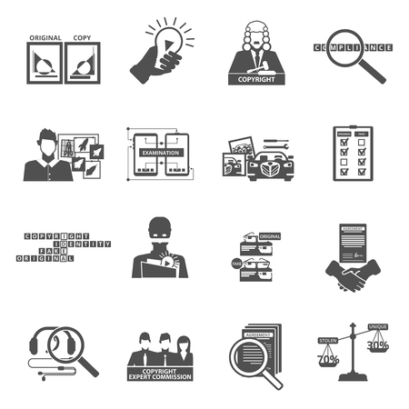 Copyright compliance law transparency black icons set with original and fake products pictograms abstract isolated vector illustration