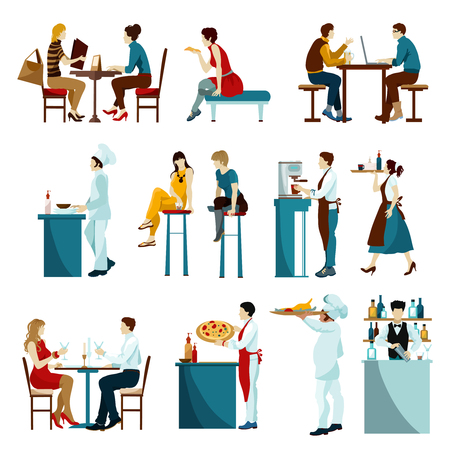 cafe table: Cafe restaurant daytime visitors flat icons set with waiters serving dishes and drinks abstract isolated vector illustration