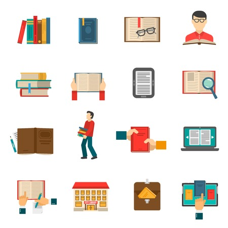 books library: Library flat icons set with people reading traditional and electronic books isolated vector illustration