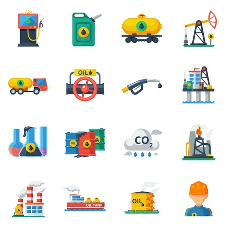 economies: Oil industry icons set with fuel and petrolemum processing and transportation symbols isolated vector illustration Illustration