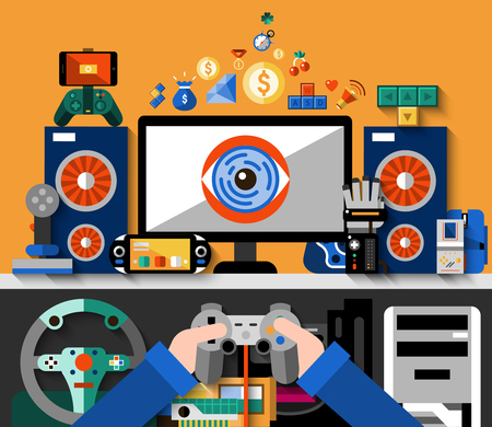 computer table: Video game concept with computer table and hands holding joystick vector illustration