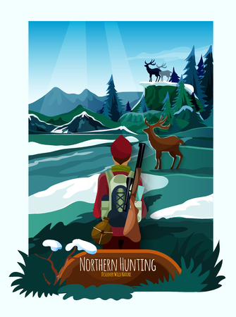 winter range: Alpine meadow landscape poster with hunter and deer on the rocks with icy mountains background vector illustration Illustration