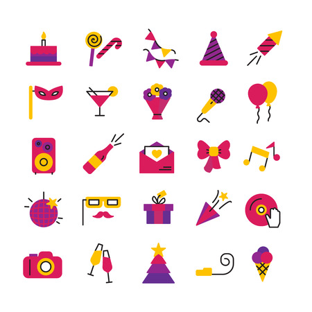 champagne celebration: Celebration party and birthday icons set with masks petard champagne and balloons isolated vector illustration