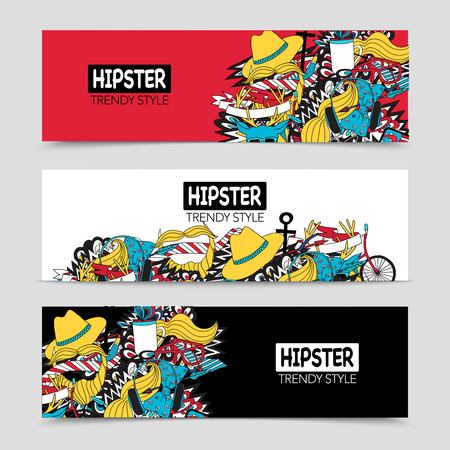 Hipster style fashion trends 3 interactive horizontal banners with white red and black background abstract vector illustration