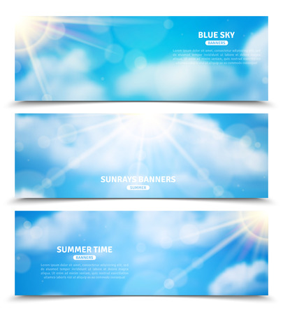 trough: Blue sky with sun rays trough clouds three horizontal summer time banners set abstract isolated vector illustration Illustration