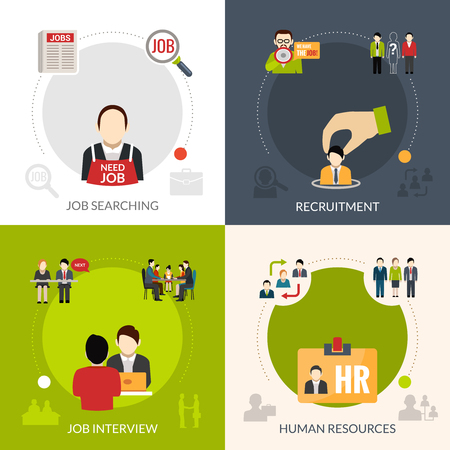 job search: Recruitment design concept set with job searching and human resources isolated vector illustration