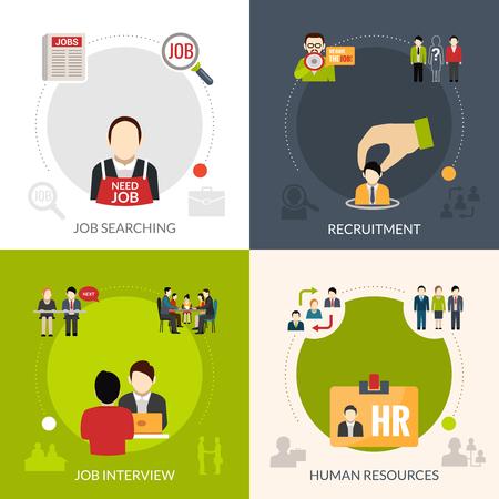 Recruitment ontwerpconcept set met zoeken naar een baan en geïsoleerd human resources vector illustratie