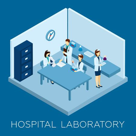 medical personnel: Hospital laboratory concept with isometric doctor and medical personnel silhouettes vector illustration