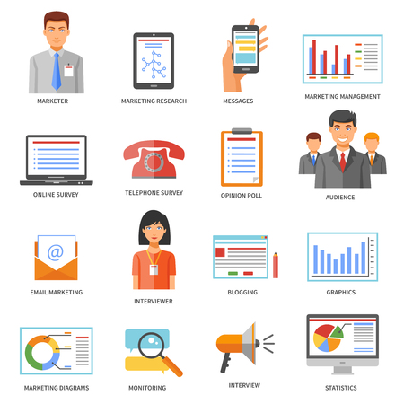 Collection of marketing colored signed icons with white background for blog performance web site design isolated vector illustration