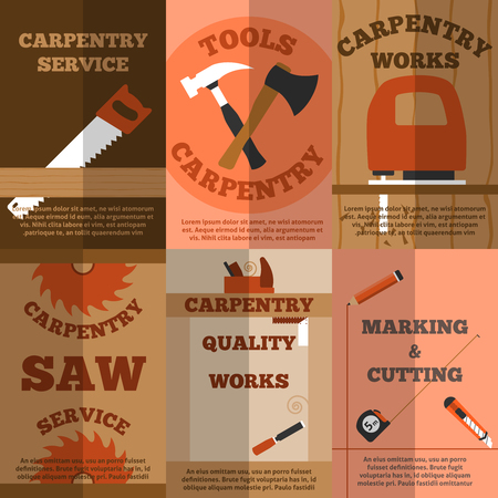 timber cutting: Carpentry marking and cutting works service 6 flat banners composition poster with sawmill abstract vector isolated illustration Illustration