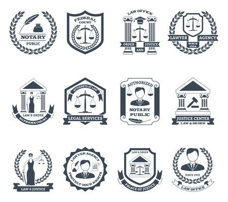 Advocaat zwart wit set met notaris en advocatenkantoor symbolen platte geïsoleerde vector illustratie