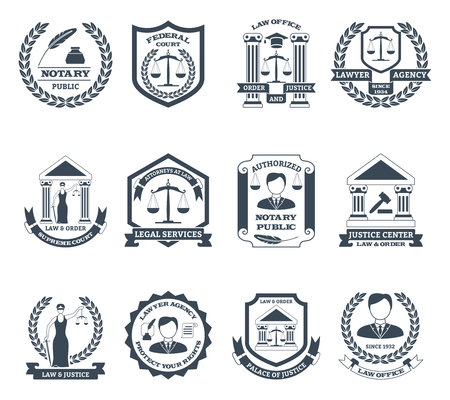 Lawyer black white  set with notary public and law office symbols flat isolated vector illustration