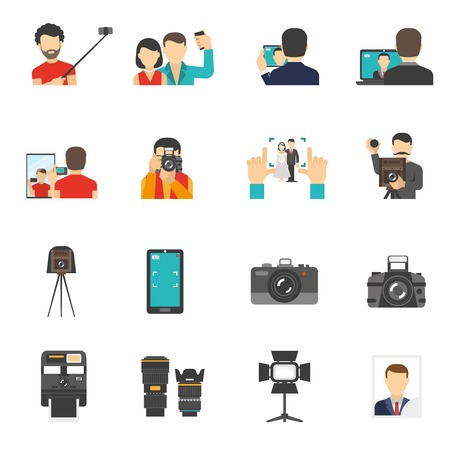 photo people: Photography flat icons set with photo camera equipment and people making selfie isolated vector illustration
