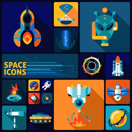 exploration: Space exploration decorative icons flat set with alien rockers telescope asteroid isolated vector illustration Illustration