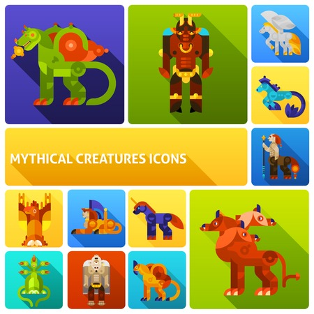 hydra: Mythical creatures flat long shadow icons set with ancient legends animals isolated vector illustration