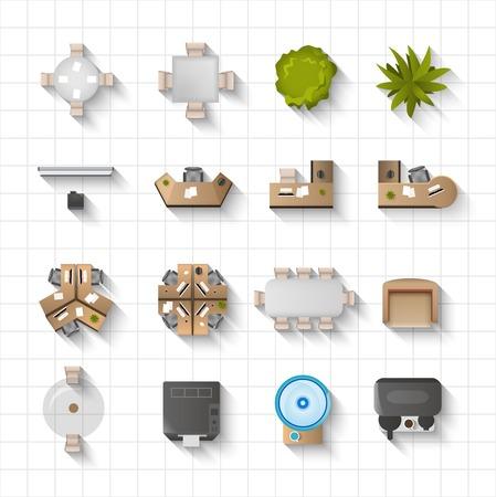 cadeira: Escritório de móveis interiores ícones vista superior set isolado ilustração vetorial