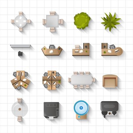 business desk: Office interior furniture icons top view set isolated vector illustration