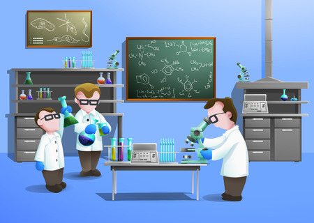 symbole chimique: Chemical concept de laboratoire avec des scientifiques utilisant le vecteur de la biotechnologie moderne illustration Illustration