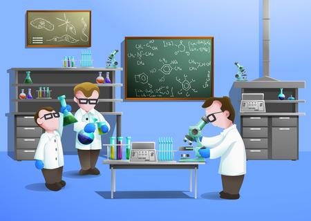 laboratorio: concepto de laboratorio de qu�mica con los cient�ficos que utilizan la biotecnolog�a moderna ilustraci�n vectorial