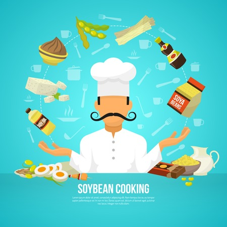 soy: Soy food concept with flat organic products and chef avatar vector illustration Illustration