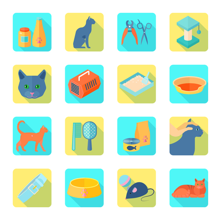 toy toilet bowl: Indoor cat care accessories flat icons set with healthy vet approved food abstract shadow isolated vector illustration Illustration