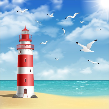 beach: Realistic lighthouse on the beach with seagulls and ocean on background vector illustration