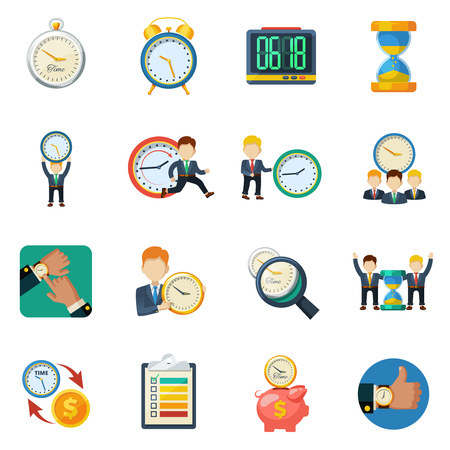 Successful time management money saving concept with different types clock flat icons collection abstract isolated vector illustration