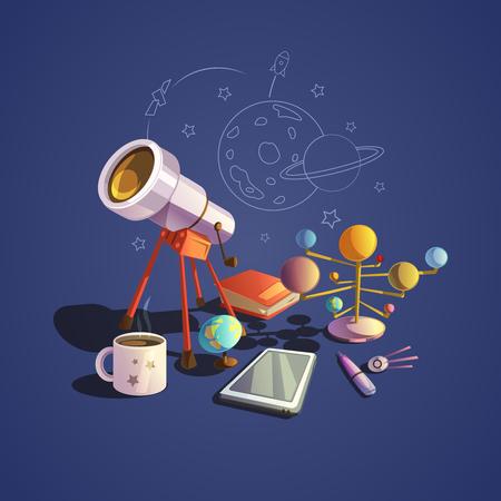 study: concepto de la Astronomía con iconos de dibujos animados retro ciencia conjunto ilustración vectorial
