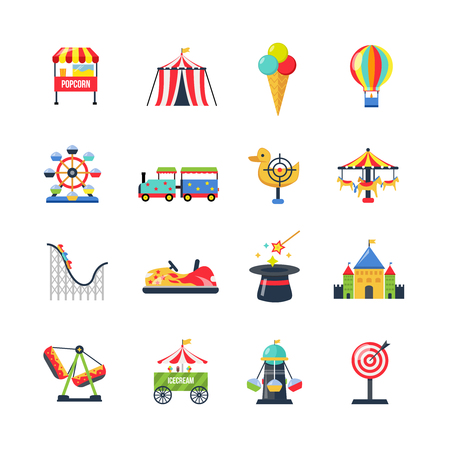 roller coaster: Flat color amusement park icons with roller coaster circus tent ferris wheel and airship isolated vector illustration