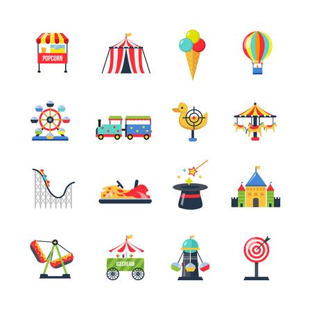 clown cirque: Flat couleur parc d'attractions ic�nes avec tente roller coaster de cirque grande roue et dirigeable isol� illustration vectorielle