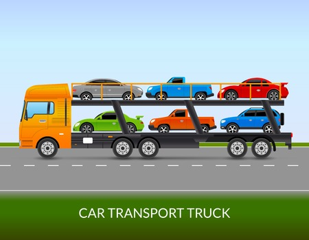 transport truck: Car transport truck on the road with different types of cars flat vector illustration