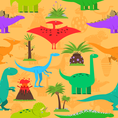 Dinosaurs prehistoric plants and volcano eruption seamless pattern vector illustration
