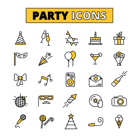 wine gift: Friday evening wedding party outlined icons collection with invitation cake and music symbols abstract isolated vector illustration Illustration