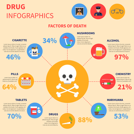 ecstasy pill: Drug infographics set with cigarettes mushrooms and alcohol signs vector illustration