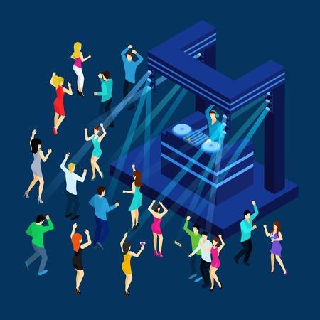 gente che balla: La gente di Dancing con pista da ballo dj musica e luce isometrico illustrazione vettoriale