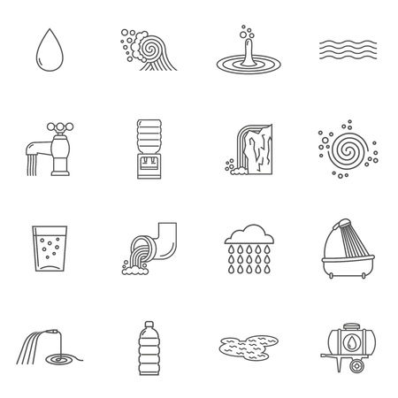 Water icons line set with faucet shower and plastic bottle isolated vector illustration Ilustração