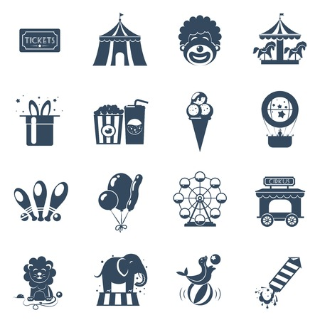 attractions: Circus black icons set with tickets tent clown attractions isolated vector illustration