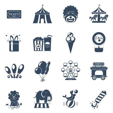 payaso: iconos negros circo se establece con la ilustraci�n vectorial atracciones entradas tienda de payaso aislado