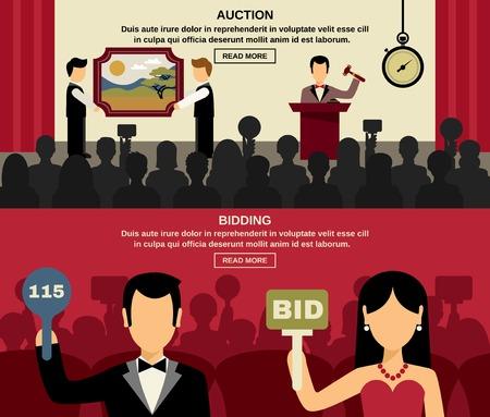 Auktion und bieten horizontale Banner mit Menschen und Bild flach isolierten Vektor-Illustration gesetzt Illustration