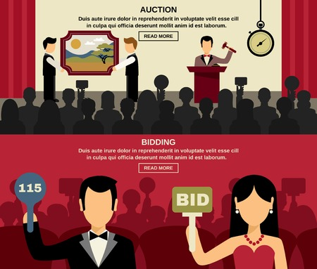 Auction and bidding horizontal banners set with people and picture flat isolated vector illustration