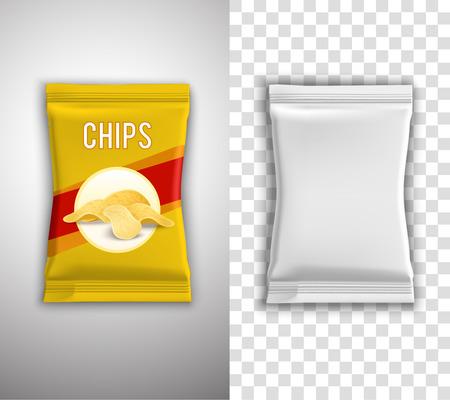 botanas: Chips de diseño de envases realista con la plantilla blanca en blanco y el ejemplo aislado ilustración vectorial