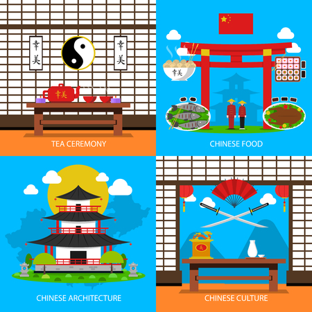 Chinese concept icons set with tea ceremony architecture and culture symbols flat isolated vector illustration Illustration