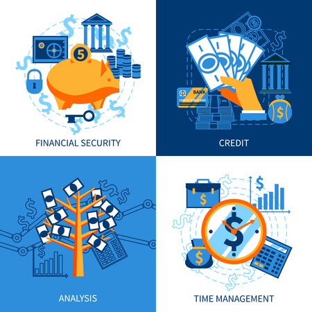 Flat design icons concept set of financial security crediting and management vector illustration
