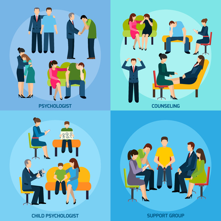 psychologist: Mental disorder counseling psychologist and support group 4 flat icons square composition banner abstract isolated vector illustration