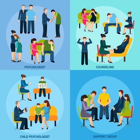 terapia psicologica: Psicólogo y el apoyo del grupo de asesoramiento trastorno mental 4 iconos planos composición de la plaza banner abstracto ilustración vectorial aislado
