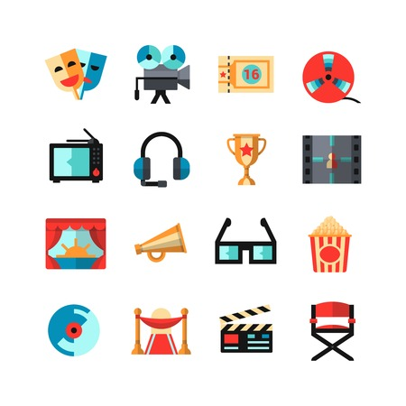 film: Cinema icon set with items film festival directors attributes tv camcorder and 3d glasses isolated vector illustration Illustration
